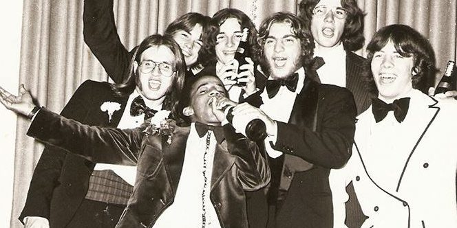 Georg in the middel, 1976, Prom night at the Rhinehotel Dreesen in Bonn.