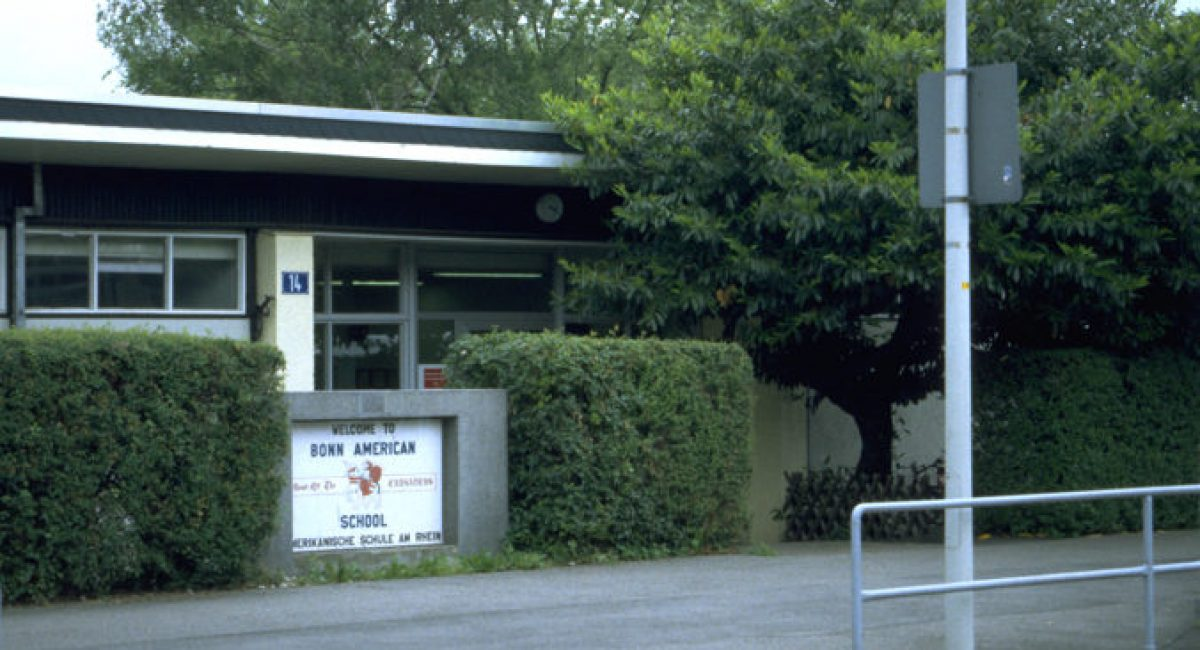 Bonn American High School's main entrance at 14 Martin Luther King, Jr Strasse.Little America - how it all began >>,